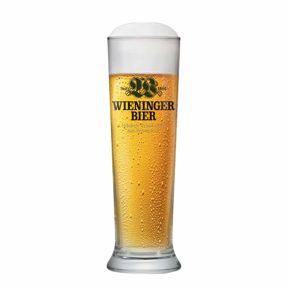 Copo de Cerveja Rótulo Frases Wieninger Bier Vidro 600ml