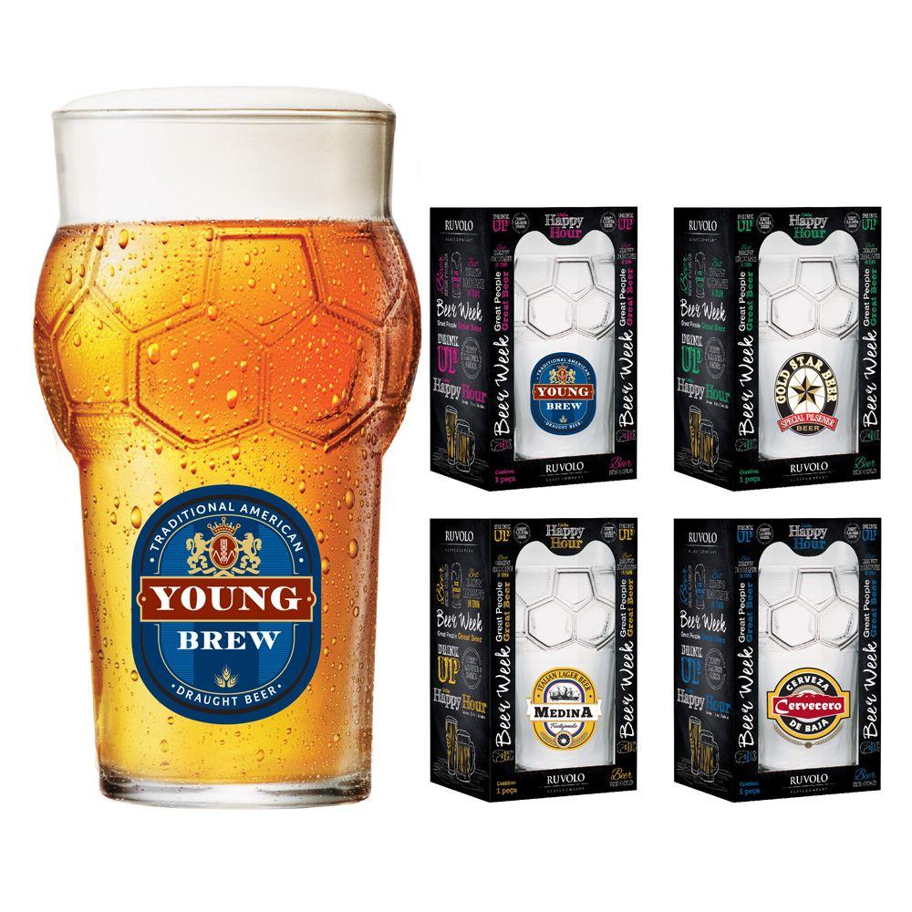 Copos de Cerveja Rótulo Frases Coleção 4 Pcs Futebol 580ml