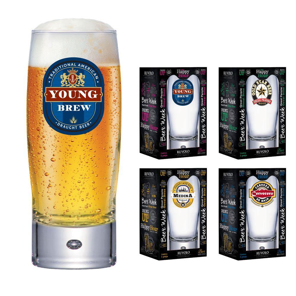 Copos de Cerveja Rótulo Frases Coleção 4 Pcs Strange 300ml