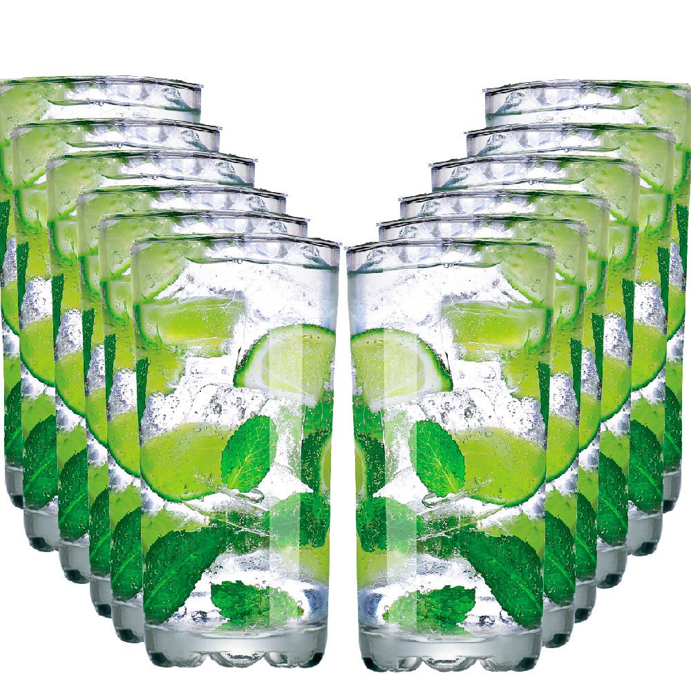 Jogo Copos Água Suco Mirage Long Drink Vidro 300ml 12 Pcs