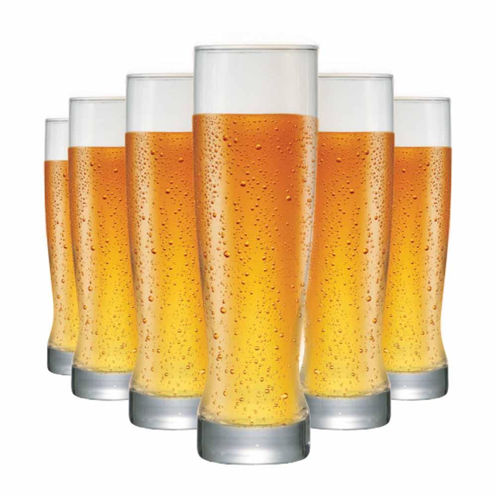 Jogo Copos Cerveja Genebra Vidro 400ml 6 Pcs