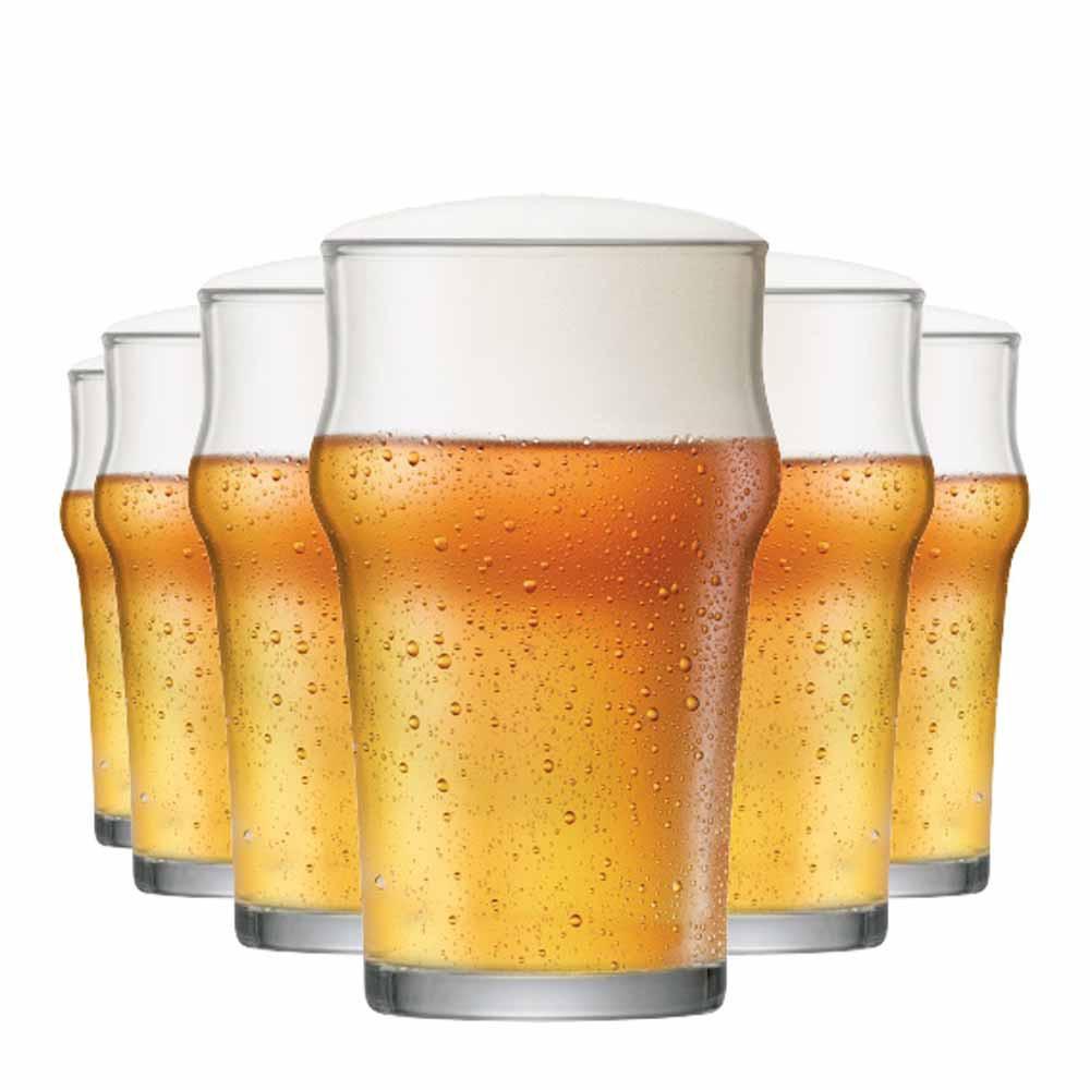 Jogo Copos Cerveja Nonic P Vidro 305ml 6 Pcs