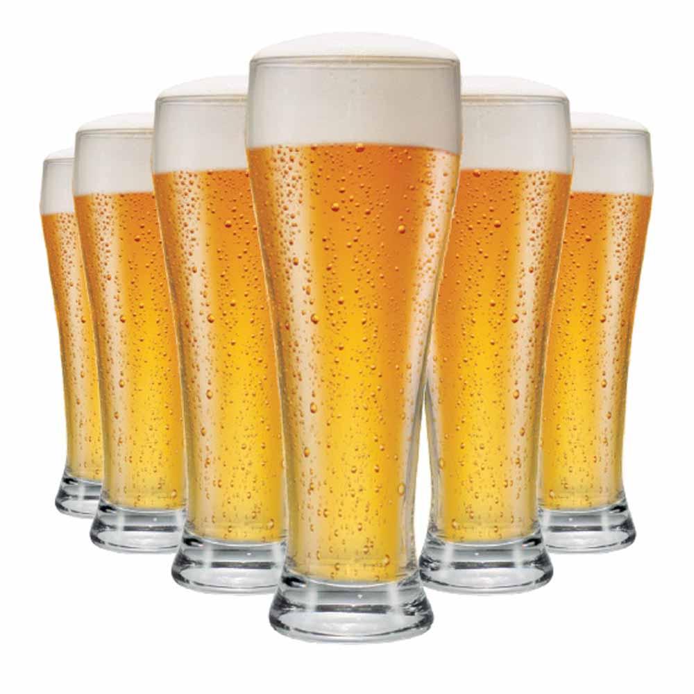 Jogo Copos Cerveja Weiss G Vidro 675ml 6 Pcs