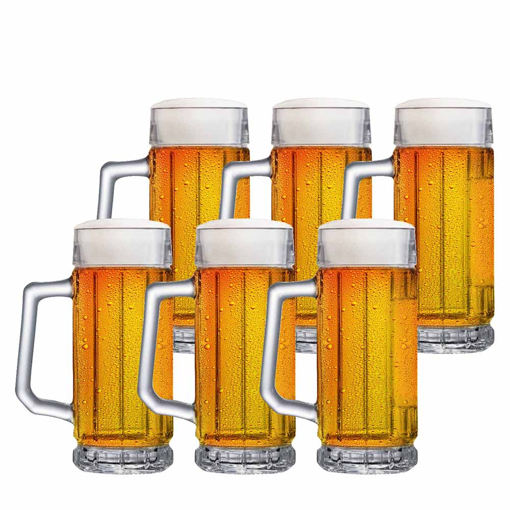 Jogo de Canecas de Chopp Cerveja de Vidro Alaska 365ml 6 Pcs