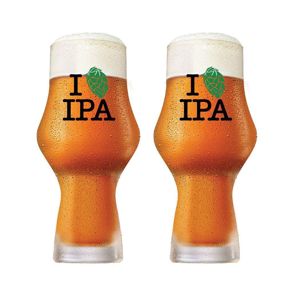 Jogo de Copos Cerveja I Love Ipa 495ml Cristal Glass 2 Pcs