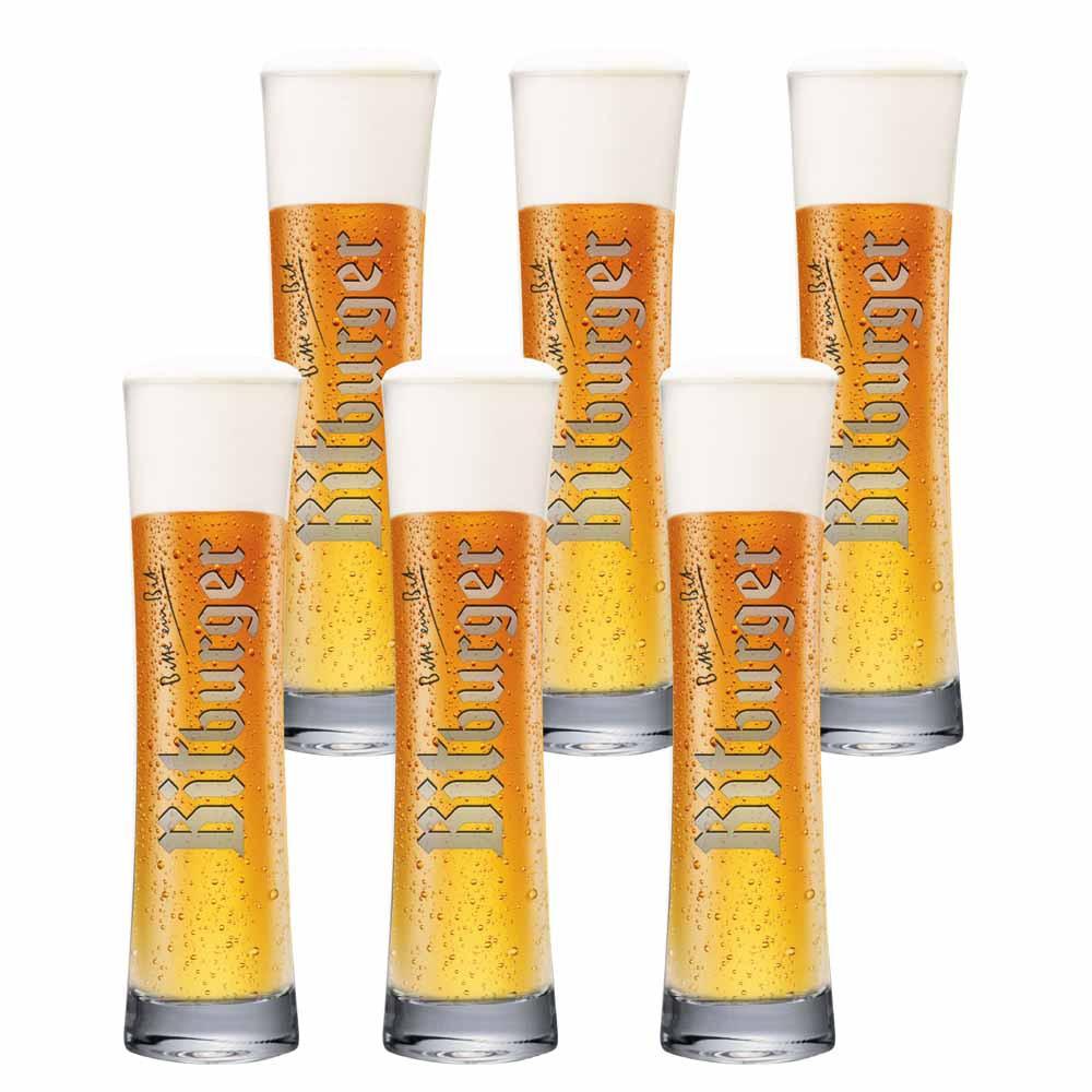 Jogo de Copos de Cerveja Bitburger Designglas Vidro 300ml