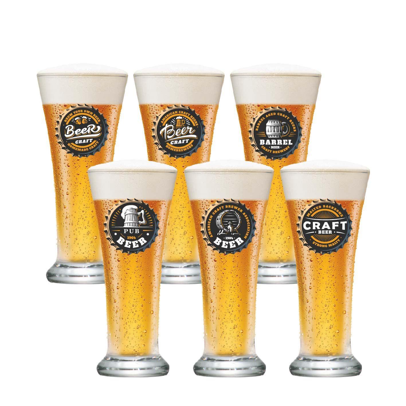 Jogo de Copos para Cerveja Frases Rótulo Pilsen 275ml 6 Pcs