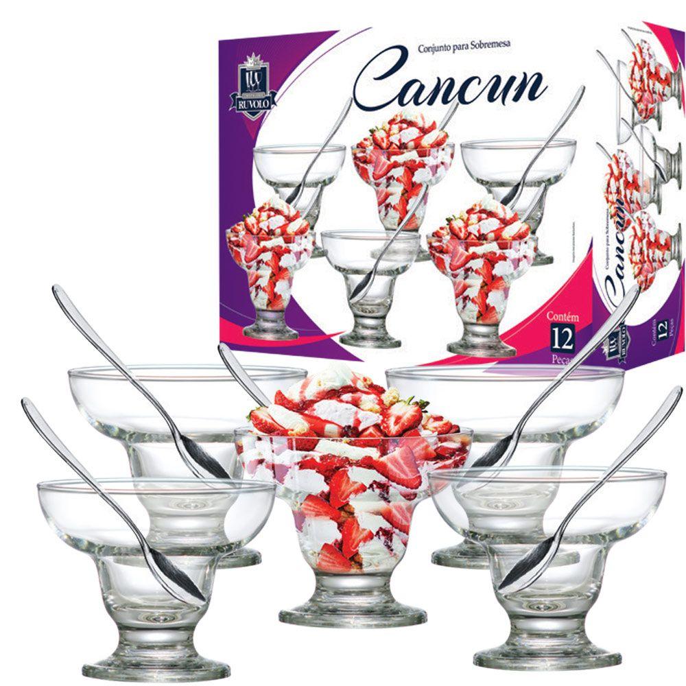 Jogo de Sobremesa Vidro New Cancun com 12 Pcs 300ml