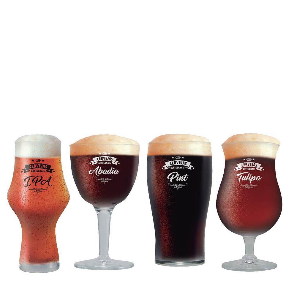 Jogo de Taças Beer Sommelier Institut Cervejas Escuras 4 Pcs
