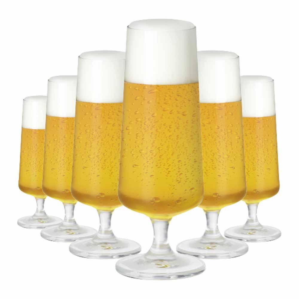 Jogo de Taças Cerveja Leed Cristal 365ml 6 Pcs