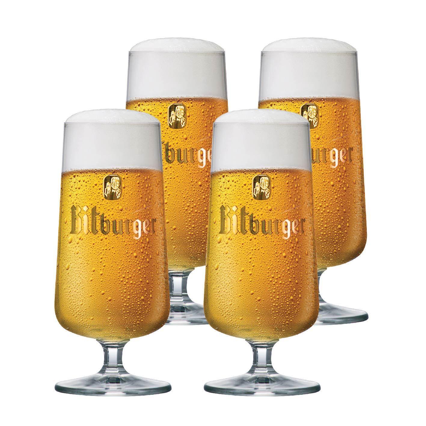 Jogo de Taças de Cerveja Bitburger Cristal 370ml 4 Pcs