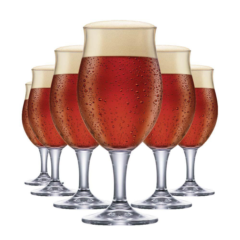 Jogo de Taças de Cerveja Cristal Dark M 435ml Conjunto 6 Pcs