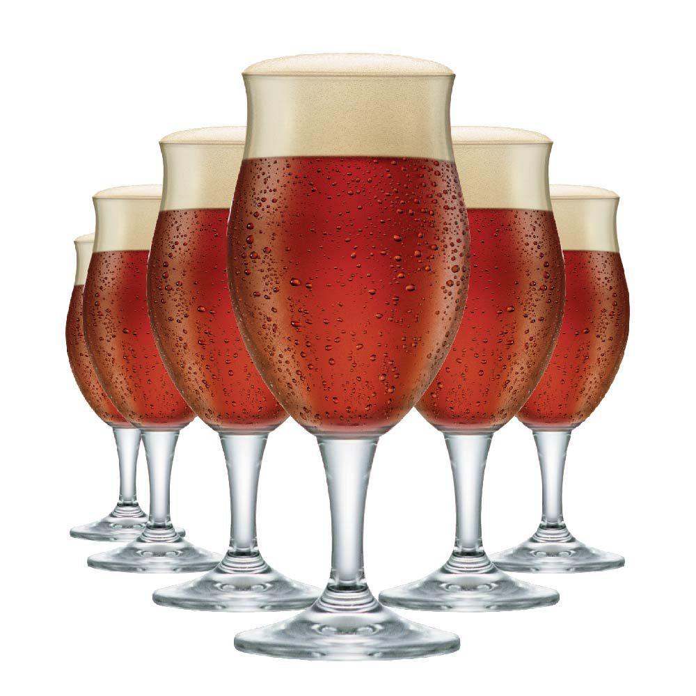 Jogo de Taças de Cerveja Cristal Dark P 295ml Conjunto 6 Pcs