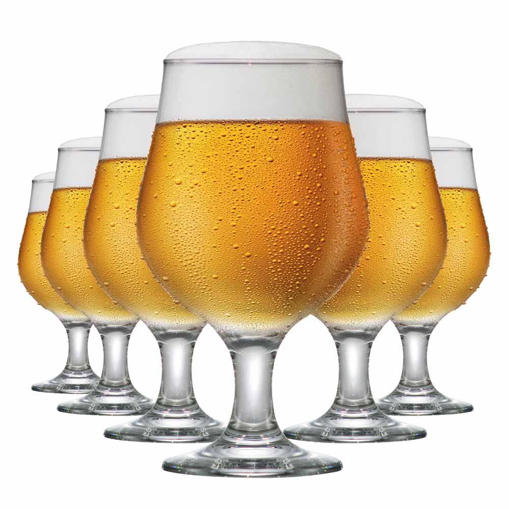 Jogo de Taças de Cerveja de Vidro Belgica 380ml 6 Pcs