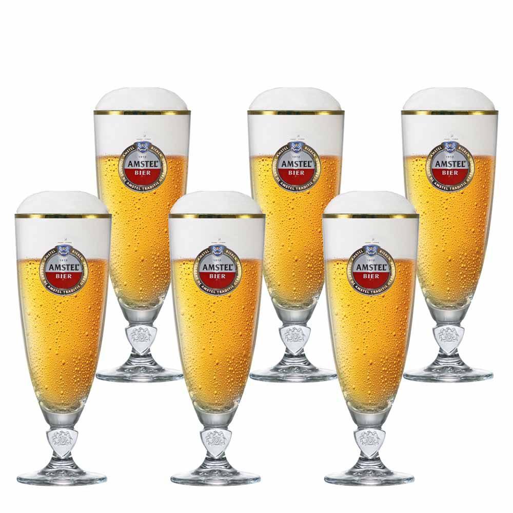 Jogo de Taças de Cerveja Frases Amstel Light Cristal 430ml