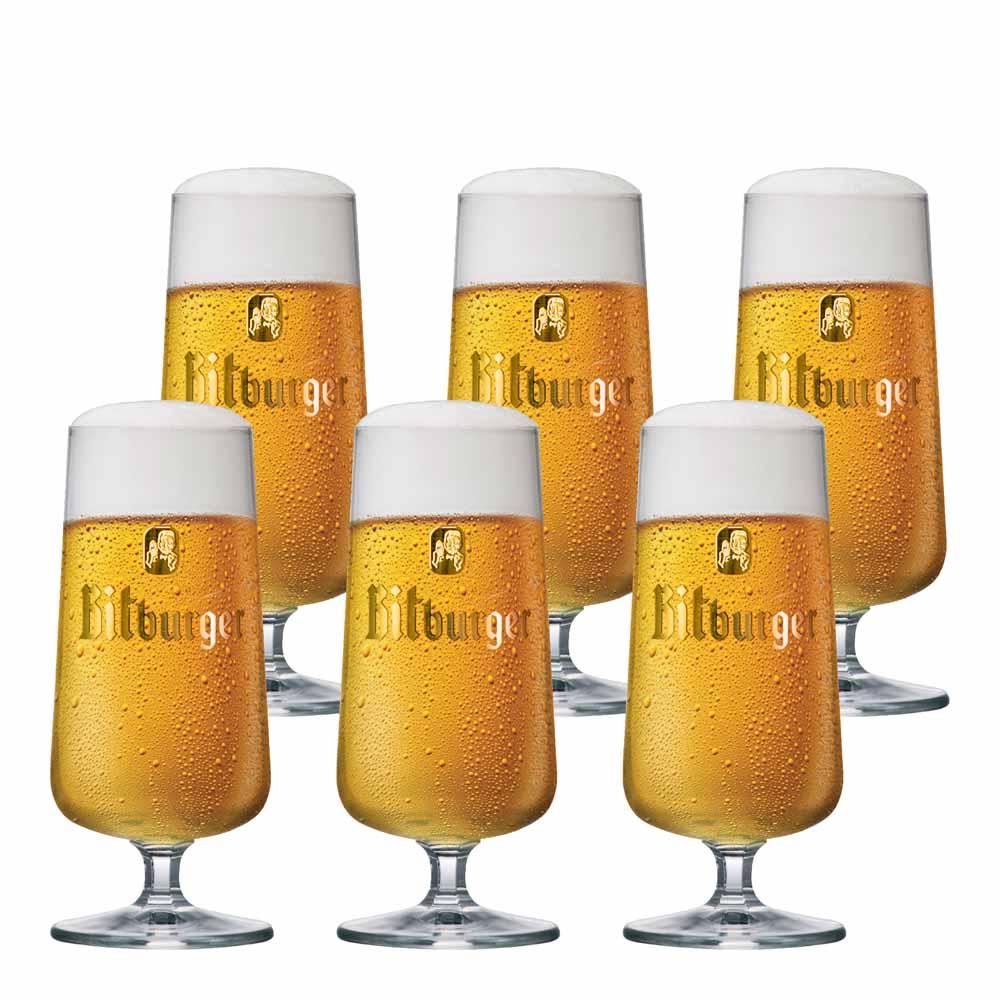 Jogo de Taças de Cerveja Frases Bitburger Cristal 370ml