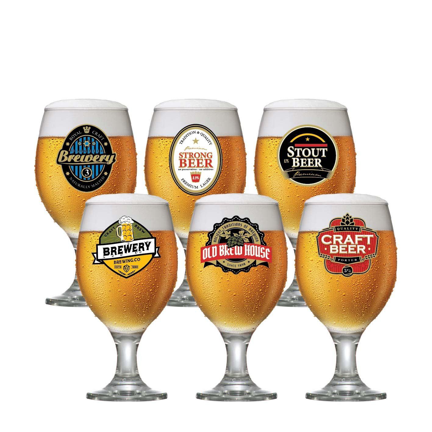 Jogo de Taças para Cerveja Frases Rótulo Roma 400ml 6 Pcs