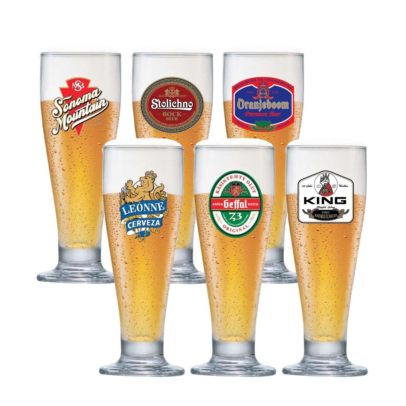 Jogo de Taças para Cerveja Frases Rótulo Tulipa 300ml 6 Pcs