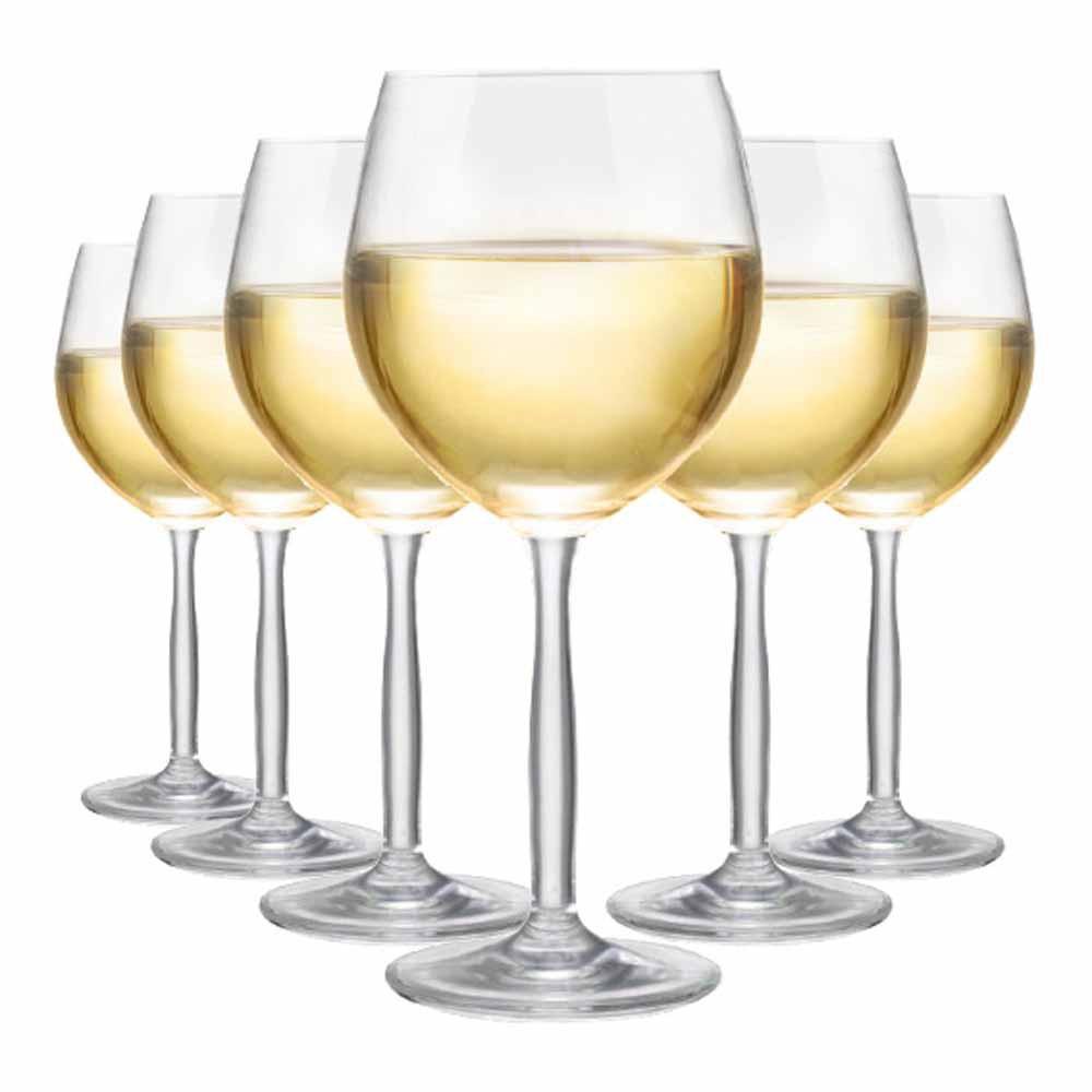 Jogo de Taças Vinho Branco Bordeaux Branco Cristal 380ml 6 Pcs