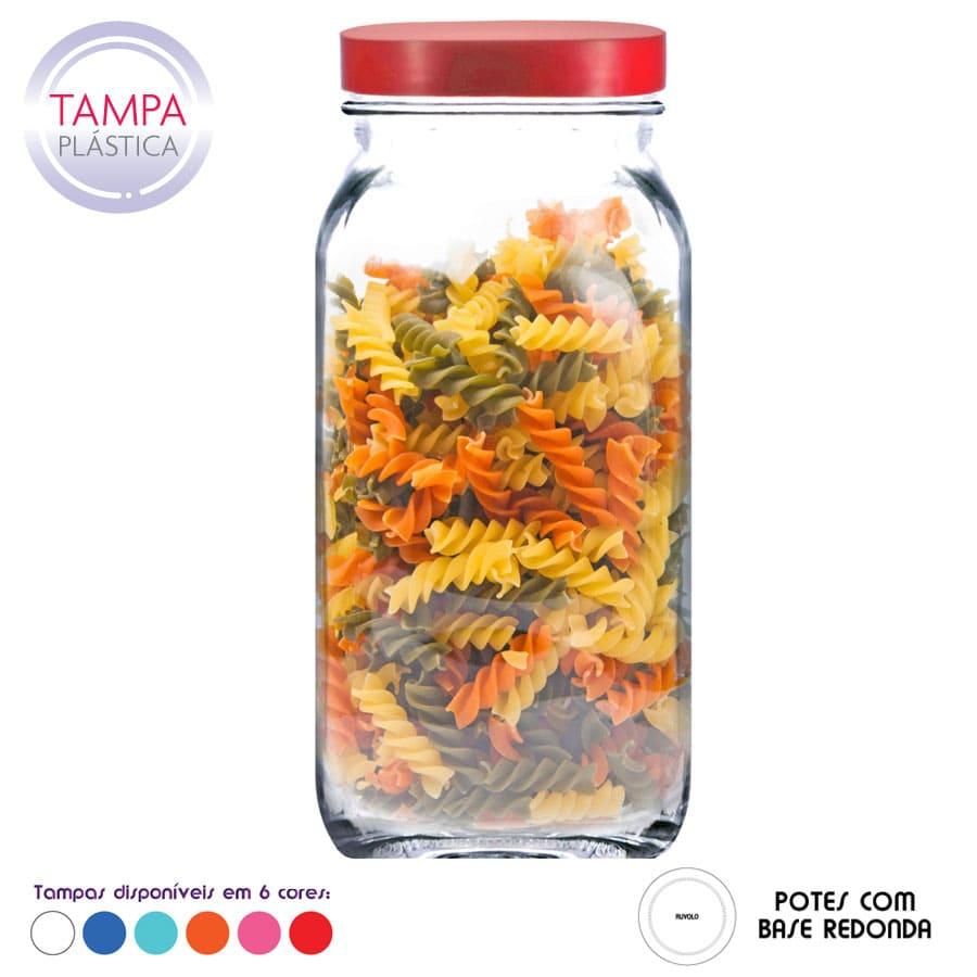 Pote Style G de Vidro C Tampa Plastica 2200ml (Caixa com 6 unidades)