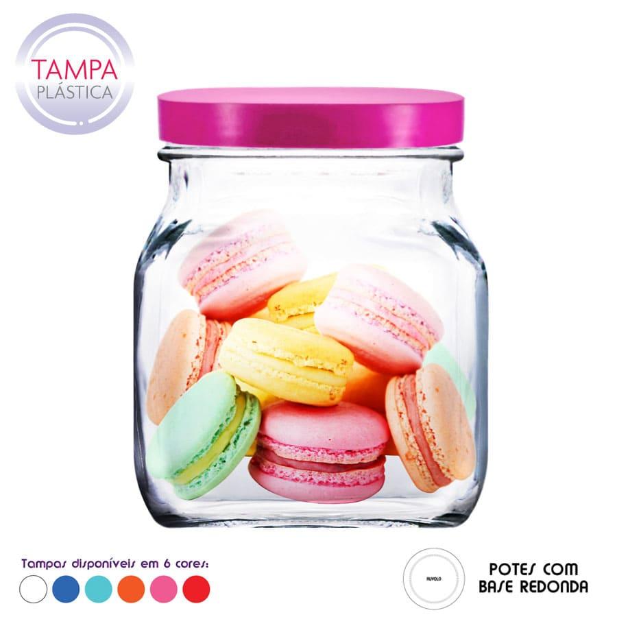 Pote Style M de Vidro C Tampa Plastica 1150ml (Caixa com 12 unidades)