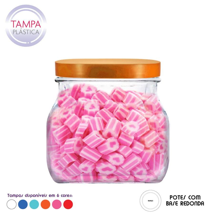 Pote Style P de Vidro C Tampa Plastica 900ml (Caixa com 12 unidades)