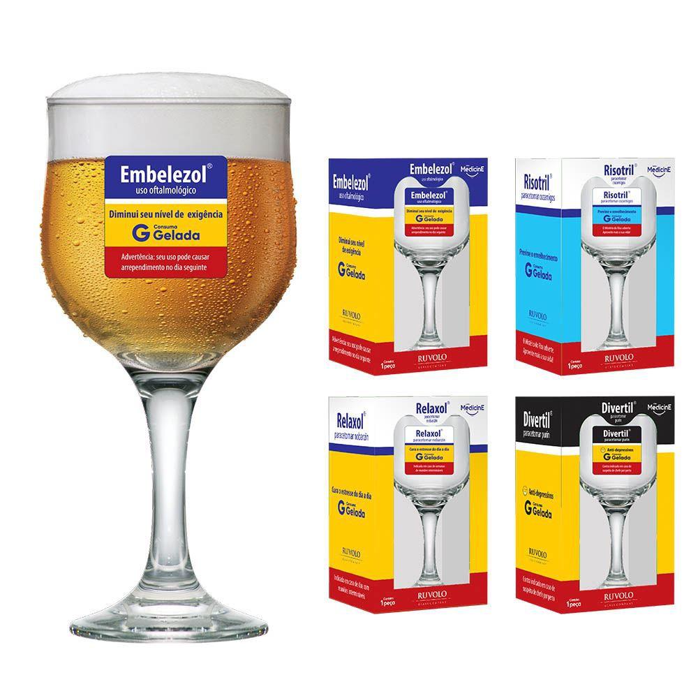 Taças de Cerveja Frases Medicine Coleção 4 Pcs Barcelona 300ml