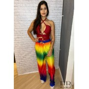 CALÇA PANTALONA PLISSADA LGBT COLOR BLOCK