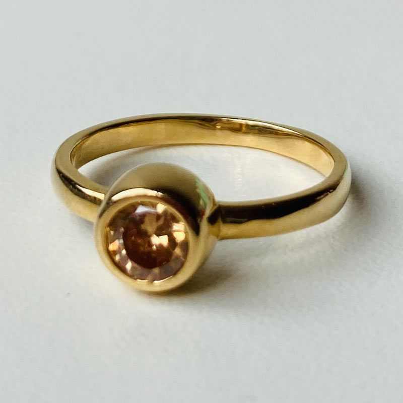 Anel Com Pedra Amarela Folheado Ouro