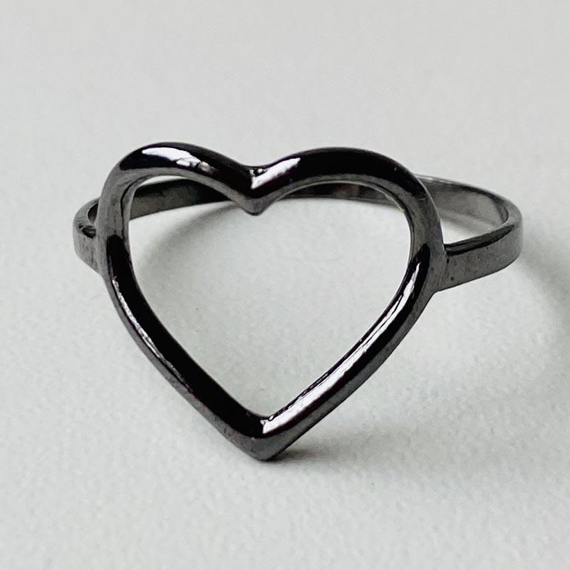 Anel de Coração Vazado Ródio Negro