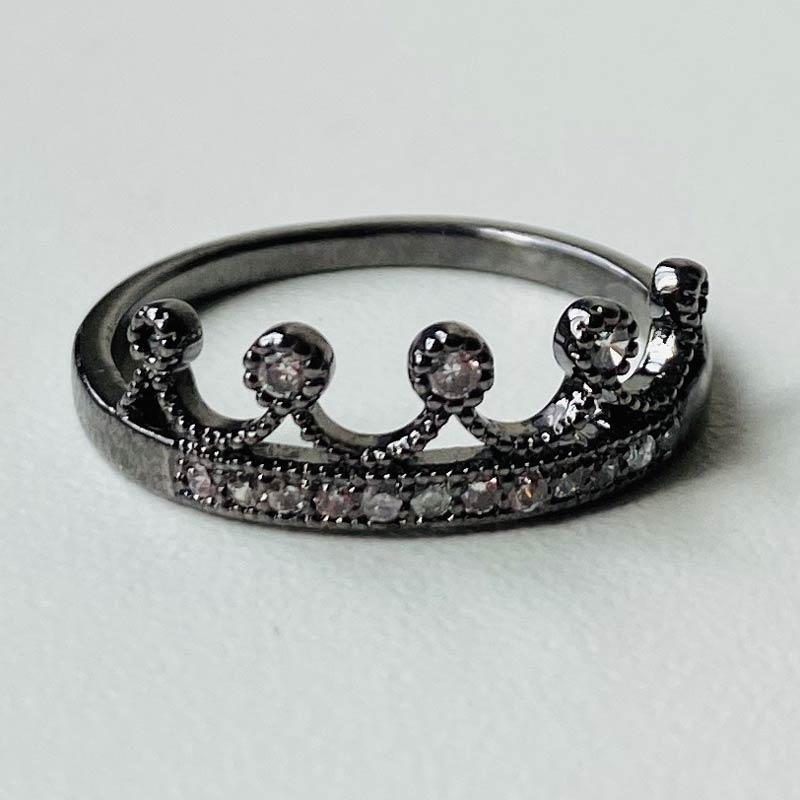 Anel Fino Coroa com Zircônias Ródio Negro