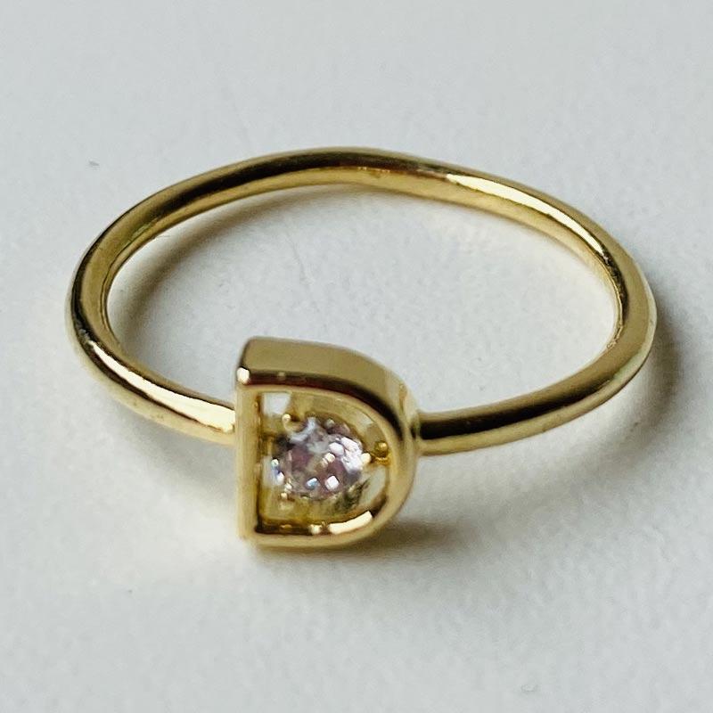 Anel Fino com Pedra Zircônia Folhado Ouro