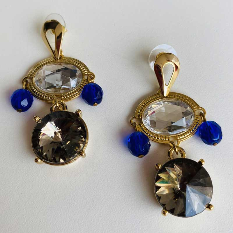 Brinco Feminino de Pedra Azul Royal Cristal e Fumê