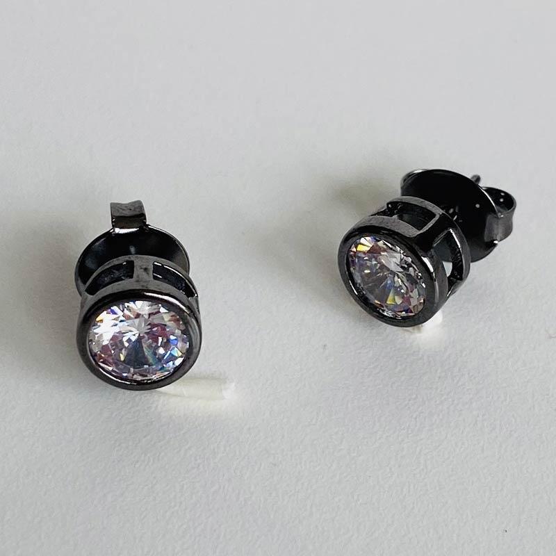 Brinco Cristal Brilhante Ródio Negro