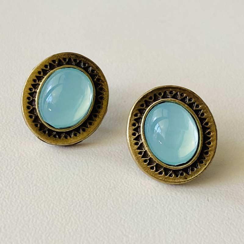 Brinco Feminino Oval Azul Folheado Ouro Envelhecido