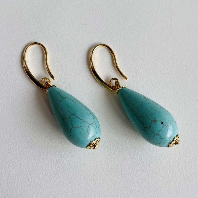 Brinco Gota Pedra Azul Turquesa Folheado Ouro