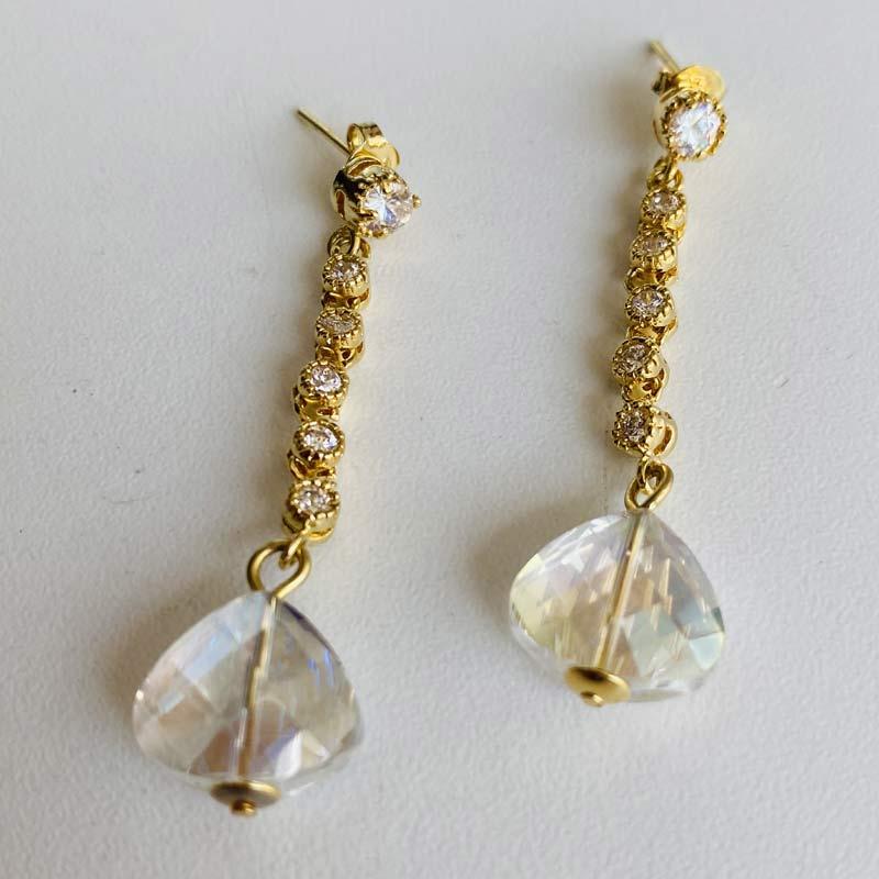 Brinco Feminino de Corrente Pedras Cristal e Zircônias Folheado Ouro
