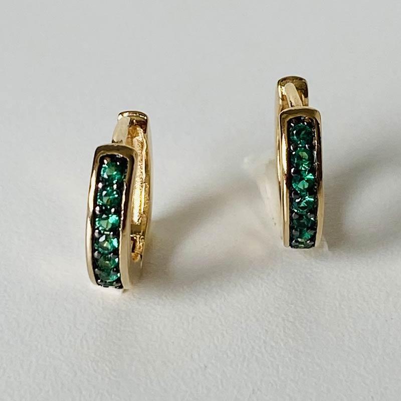 Brinco Mini Argola Ouro Zircônia Verde