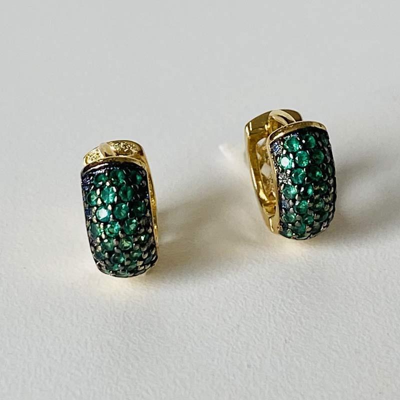 Brinco Mini Argola Zircônia Verde Folheado Ouro