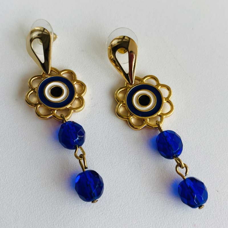 Brinco Feminino Olho Grego com Pedra Lapidada Azul Turquesa