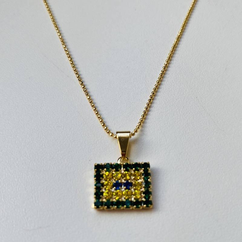 Gargantilha Pingente Retangular Corrente Folheado Ouro