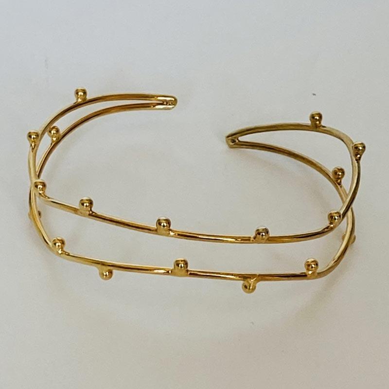 Pulseira Bracelete Dupla com Esferas Ouro 18K
