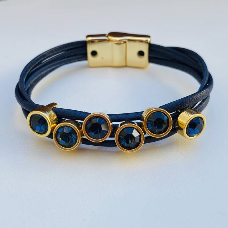 Pulseira de Couro Feminina Azul com Pedras e Metais Ouro