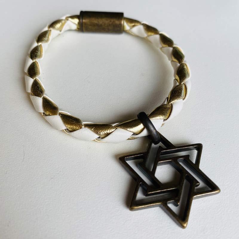 Pulseira Feminina com Pingente Medalha Estrela de Davi