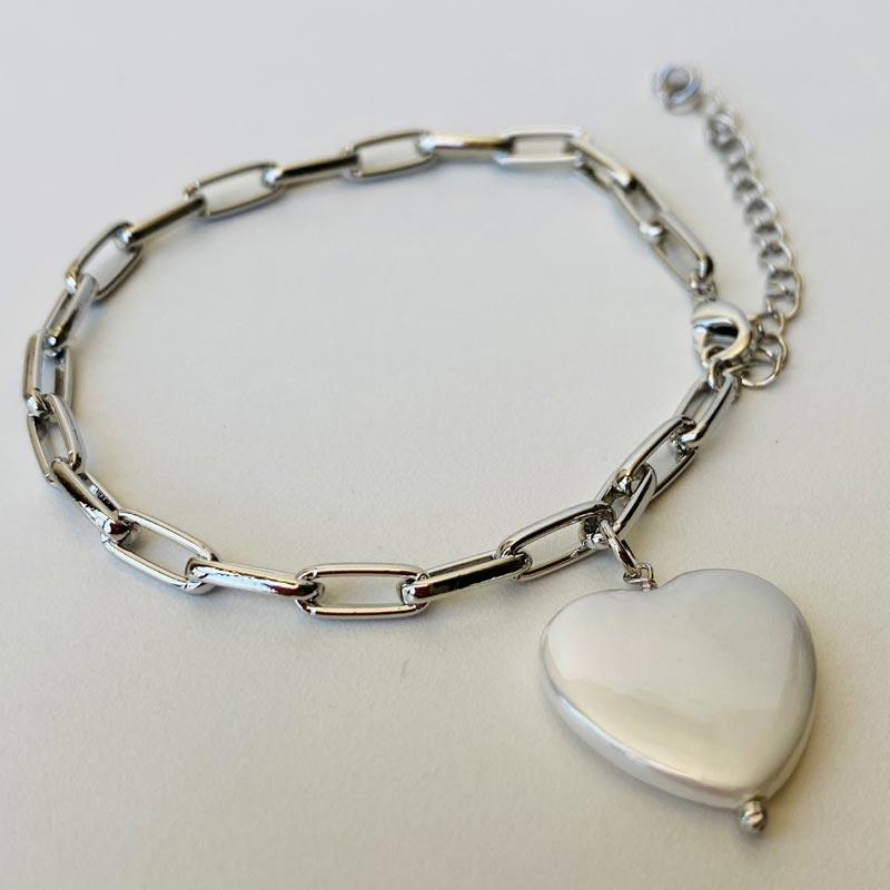 Pulseira Prata com Pingente de Pedra Coração