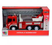 Caminhão de Bombeiro de brinquedo com sirene luzes e som R2928 Bbr