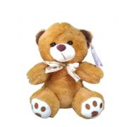 Urso de Pelúcia Bege com Laço - Antialérgico - R3076 Bbr
