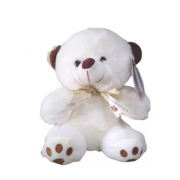 Urso de Pelúcia Branco com Laço - Antialérgico - R3076 Bbr