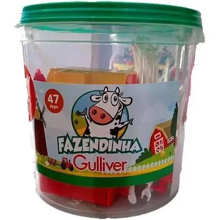 Balde Fazendinha 47 Peças 30 Miniaturas - 1039 Gulliver