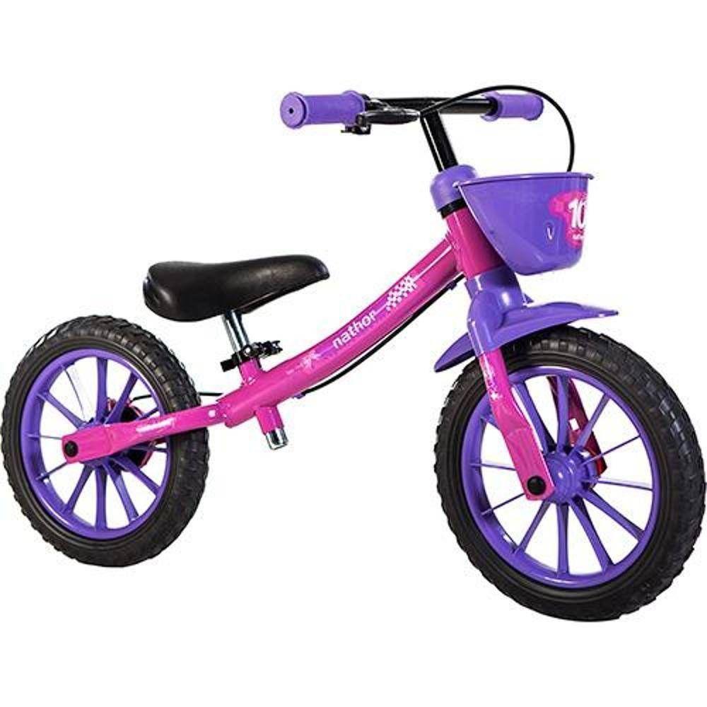 Bicicleta Infantil Aro 12 Sem Pedal Balance Bike Feminina Nathor